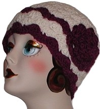 Cream Chemo Hat, Cream And Grape Purple Hat, Cream Cloche, Purple Grape Hat - $30.00
