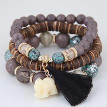 Wooden Beads Bracelets For Women Bohemia Elephant Tassel Charm 2017 - $14.50