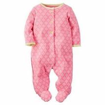 Carter's Baby Girls Long Sleeves Diamond Print Sleeper - Pink, 6 Months - $9.00