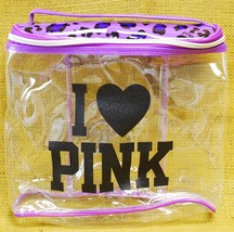 Victoria's Secret I Love PINK Cosmetic Makeup Bag Clear + Purple Leopard Print - $19.79