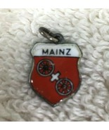 Vintage 800 Silver Enamel Travel Charm Shield Mainz Red White About 5/8 ... - $18.32