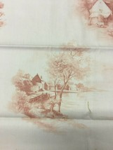 Domain Home Traditional Pink and White Fabric with Pastoral Homes 1.375 yds - $19.00