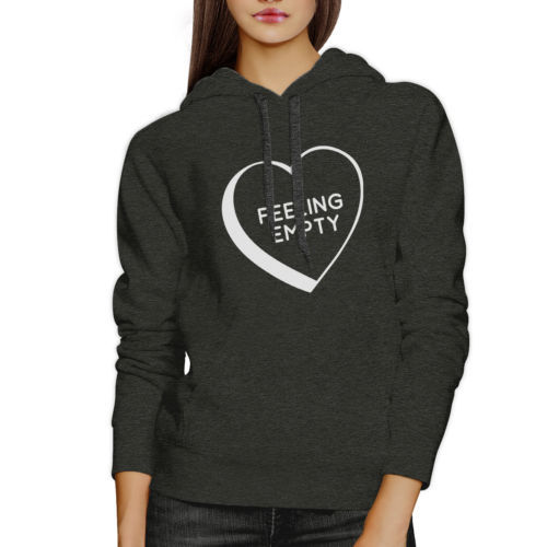 Feeling Empty Heart Unisex Dark Grey Funny Saying Graphic Hoodie