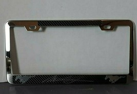 Ford Mustang License Plate Frame Silver Aluminium Metal For Rear or Front QTY 1 - $13.86