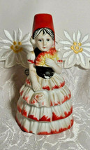 VINTAGE BELL FLAMBRO PORCELAIN BISQUE SPANISH FLAMENCO DANCER WOMAN BELL image 1