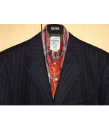 NWT Structure 44L Wool Dark Navy Blue Pinstripe Blazer + Tie Luxury Feel   - $113.93