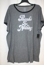 New Torrid Womens Plus Size 4X 4 Gray Ringer Thanks For Nothing Tee Shirt Top - $24.18