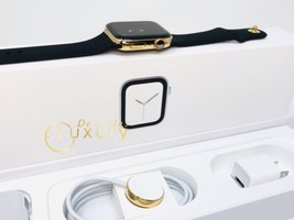 24K Gold Plated 44MM Apple Watch SERIES 4 With Black Sports Band - $1,399.00