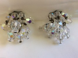 VTG  Laguna Aurora Borealis Crystal beads Round Cluster charm clip on Earrings - $35.64
