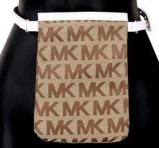 Michael Kors MK Women's Cut Out Leather Canvas Purse Belt Fanny Pack Bag 551501 image 13