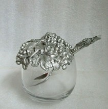 VTG SEAGULL PEWTER Jam JELLY JAR HONEY Mustard Pot w Spoon GRAPES & LEAF... - $34.60