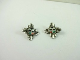 Sterling Silver Zuni Sun Face Turquoise Coral Inlay Clip On Earring  4.8... - $681,93 MXN