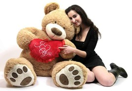 I Love You Giant Teddy Bear 5 Foot Soft Teddybear with Heart Pillow Bran... - $97.11