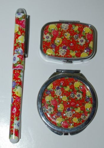 Pretty Tools 3 Set Ball Point Pen Pill Box Mirror Compact Red Floral