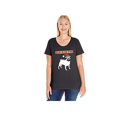 Primary image for 12.99 Prime Tees Women's Bah Hum Pug Plus Size Scoop Neck T Shirt 14-16 Black