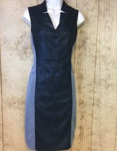 Muse Faux Leather Sheath Dress Size 4 Sleeveless Lined Grey Black Colorb... - $21.77