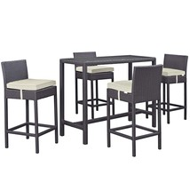 Convene 5 Piece Outdoor Patio Pub Set Espresso Beige EEI-1964-EXP-BEI-SET - $867.00