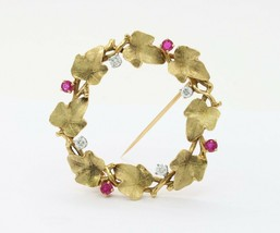 Vintage 18K Gold Ruby and Diamond Ivy Wreath Circle Brooch Pin - $2,633.40