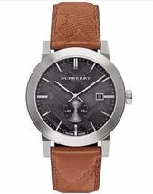 Burberry BU9905 Men's The City Swiss Black Dial Brown Leather Watch - $465.49
