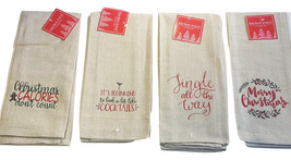 Kitchen Dish Towels Set of 4 Khaki Christmas Cheer Assorted Sayings Tea ... - $17.99