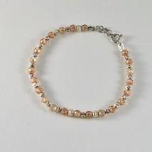 Bracelet en Argent 925 Rhodié avec des Boules à Facettes et Zirconia Cube - $55.18
