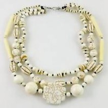CHAN LUU Designer White Hoplite Ceramic Beaded 3 Strand Sterling Silver ... - $85.00