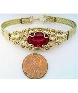 Ruby Gold Wire Wrap Bracelet Sz. 7.5 - £59.65 GBP