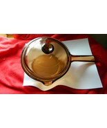 PYREX VISIONS AMBER USA MADE 1 LITER POUR SPOUT SAUCEPAN WITH LID FREE U... - $37.39