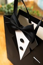 Crisky Classic Black Tuxedo Gift Bags for Groomsman Father's Birthday Anniversar image 4