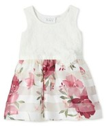 Toddler Girls Lace And Floral Knit To Woven Dress - $20.97