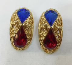 Clip On Earrings Filigree Blue & Red Rhinestone Tear Drop Gold Tone Meta... - $9.89