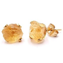 Raw natural citrine stud earrings with 24k gold plated prong stud post, ... - $36.42