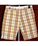 ROXY beige plaid cotton bermuda shorts 3 (T32-01D8G) - $9.88