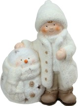"Northlight 8.75"" White Tealight Snowman Standing Boy Christmas Candle Ho... - $11.62"