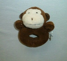 POTTERY BARN KIDS STUFFED PLUSH BABY RING RATTLE BROWN MONKEY CHAMOIS TOY - $19.79