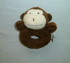 Pottery Barn Kids Stuffed Plush Baby Ring Rattle Brown Monkey Chamois Toy - $19.79