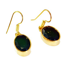 gorgeous Green Onyx Gold Plated Green Earring Natural jewelry US gift - $11.87
