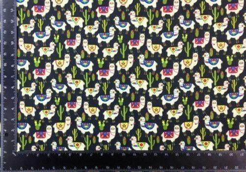 Llama Cacti Multi Black 100% Cotton High Quality Fabric Material 3 Sizes