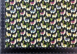 Llama Cacti Multi Black 100% Cotton High Quality Fabric Material 3 Sizes - $2.89+