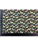 Llama Cacti Multi Black 100% Cotton High Quality Fabric Material 3 Sizes - $2.88+