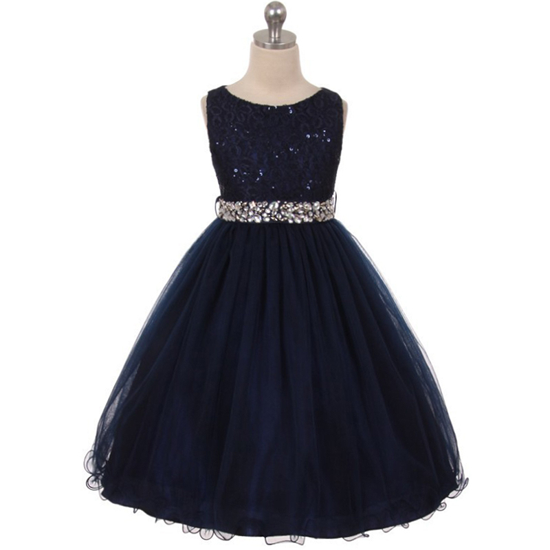 Primary image for Navy Blue Sequin Bodice Double Layers Tulle Skirt Rhinestones Flower Girl Dress