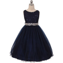 Navy Blue Sequin Bodice Double Layers Tulle Skirt Rhinestones Flower Girl Dress - $37.00+