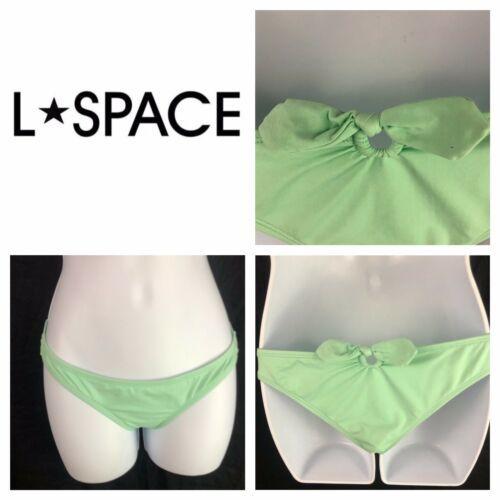 L Space Keyhole Tie Back Hipster Bikini Bottoms Green Blue L Large
