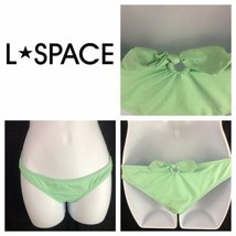 L Space Keyhole Tie Back Hipster Bikini Bottoms Green Blue L Large - $19.80