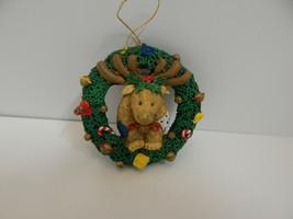 Christmas Ornament Resin Reindeer inside Wreath - $9.85