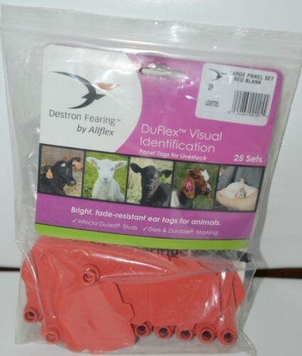 Destron Fearing DuFlex Large Panel Tags for Livestock Red Blank 25 Sets