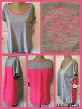 NEW! SO Short Sleeved Shirt Size Small Scoop Neck Gray & Pink Polyester/... - $8.90