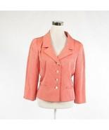 Salmon pink ivory striped OSCAR DE LA RENTA 3/4 sleeve blazer jacket 12 - $54.99