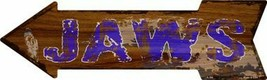 "Jaws Hawaiian Themed Novelty Metal Arrow Sign 17"" x 5"" Wall Decor - DS - $21.95"