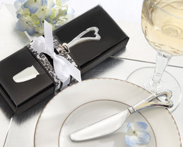 96 Spread The Love Heart Chrome Cheese Spreader Wedding Favors in Elegan... - $189.76
